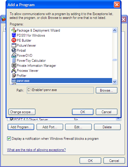 What security settings are required for Enabler Server PCs